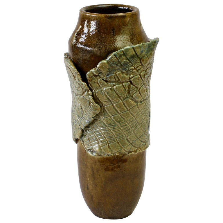 Signe Pistorious-Lehmann Organic German Art Studio Pottery Vase, circa 1980s For Sale