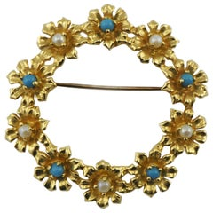Signed 14 Karat Gold Flower Wreath Brooch Pin with Pearls and Turquoise Accents