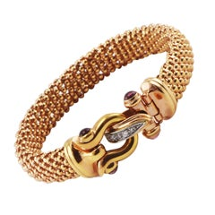 Signed 14K Italy Mesh Rose Gold Bracelet Cabochon Tourmalines and Diamond Accent