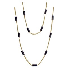 Signed 18 Karat Gold and Lapis Beaded Rope Length Necklace by Filippini Fratteli