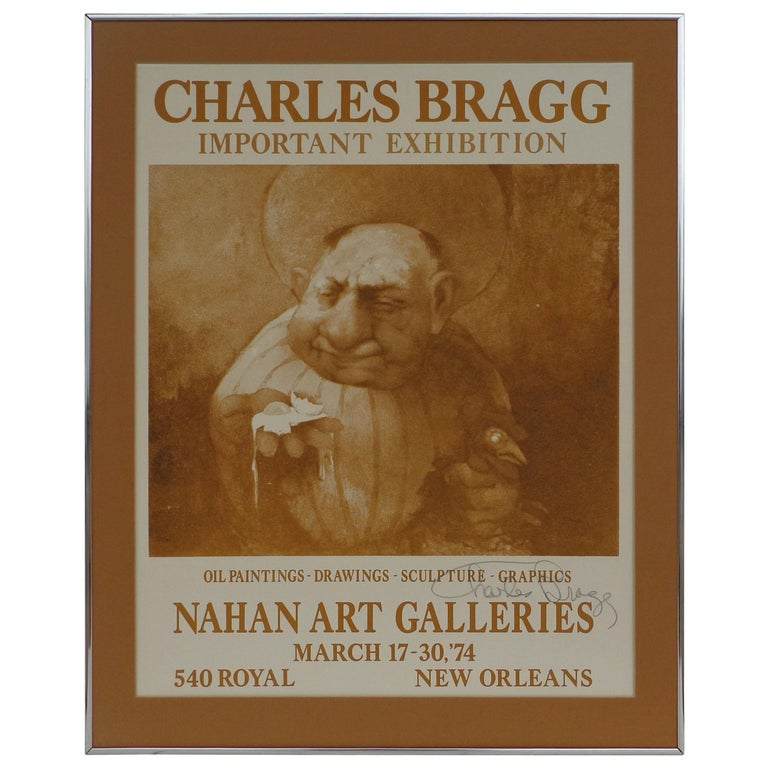 """Signed 1974 Charles Bragg New Orleans """"Important Exhibition"""" Poster For Sale"""