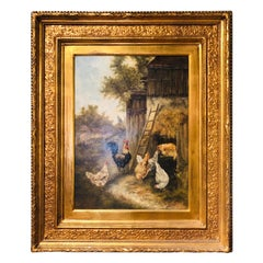 Signed 19th Century French Oil Painting on Canvas