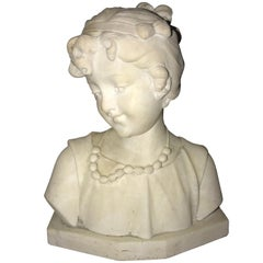 Signed 19th Century Marble Miniature Bust of a Young Girl Signed on Reverse