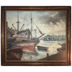 Signed 19th or Early 20th Century Oil Painting Boats Docked at the Port