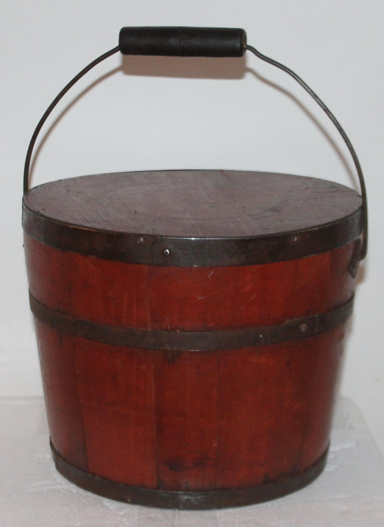 Folk Art Signed 19th Century Shaker Painted Bucket For Sale