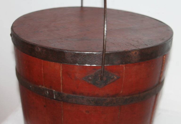 Signed 19th Century Shaker Painted Bucket For Sale 1