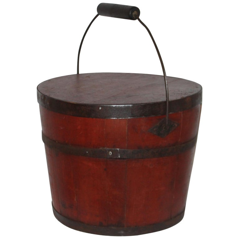 Signed 19th Century Shaker Painted Bucket For Sale