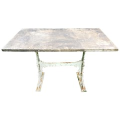 Signed !9th C English Cast Iron Conservatory Table with Large Grey Marble Top