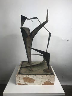 Signed Abstract Modernist Metal Sculpture Attributted to Early Curtis Jere