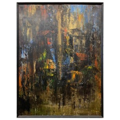 Signed Abstract Oil on Canvas by Japanese Modernist Artist S. Tokuyoshi