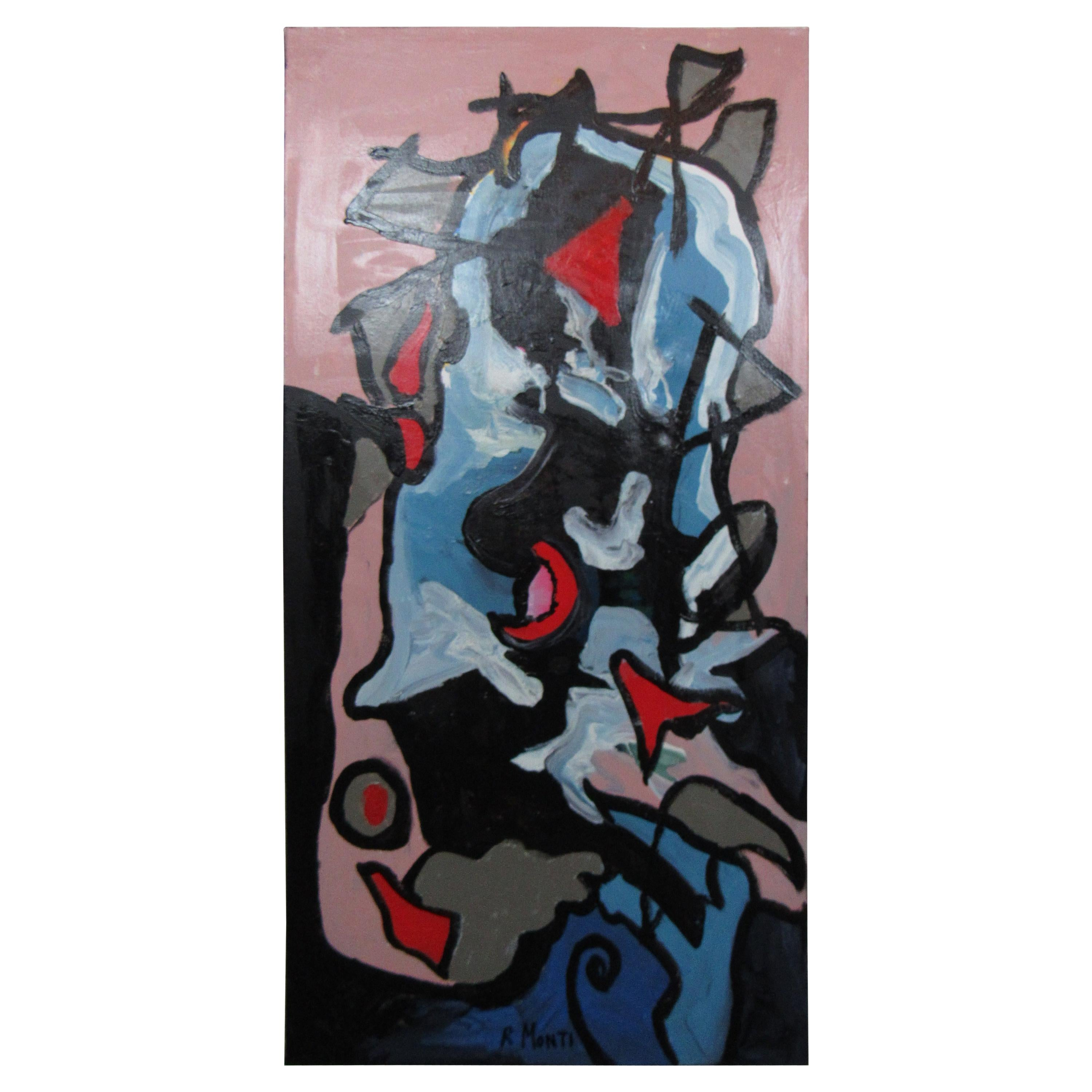 Signed Abstract Painting by R. Monti