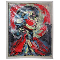 Signed Abstract Portrait Painting by R. Monti