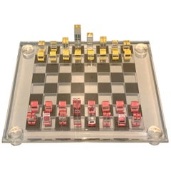 Signed Acrylic Modernist Bauhaus Inspired Chess Set