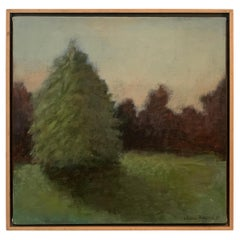 Signed Acrylic on Canvas Landscape Painting of Trees and Shadow in Wood Frame