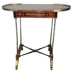 Signed Adam Weisweiler Neoclassical Table With Faux Bamboo Columns, 18th Century