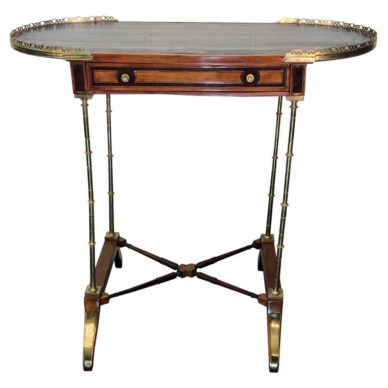 Signed Adam Weisweiler Neoclassical Table With Faux Bamboo Columns, 18th Century For Sale