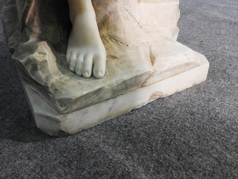 Signed Adolfo Cipriani Carved Marble Statue of a Lady with Water Jug on Rocks For Sale 7