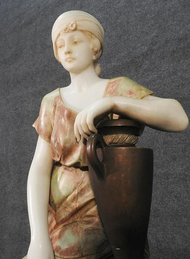 Signed Adolfo Cipriani Carved Marble Statue of a Lady with Water Jug on Rocks For Sale 12