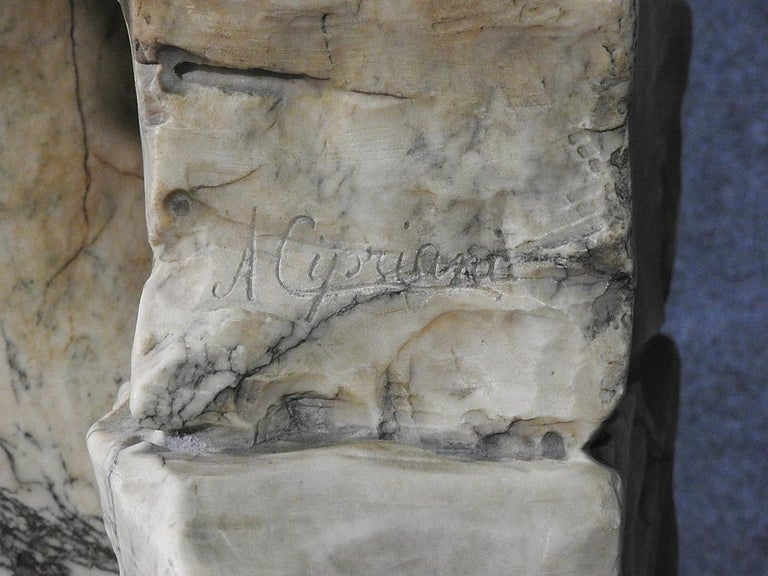 Classical Roman Signed Adolfo Cipriani Carved Marble Statue of a Lady with Water Jug on Rocks For Sale