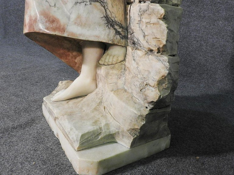 Italian Signed Adolfo Cipriani Carved Marble Statue of a Lady with Water Jug on Rocks For Sale