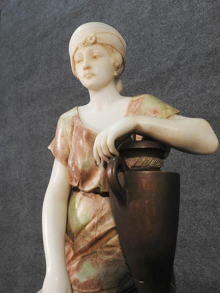 Signed Adolfo Cipriani Carved Marble Statue of a Lady with Water Jug on Rocks In Good Condition For Sale In Swedesboro, NJ