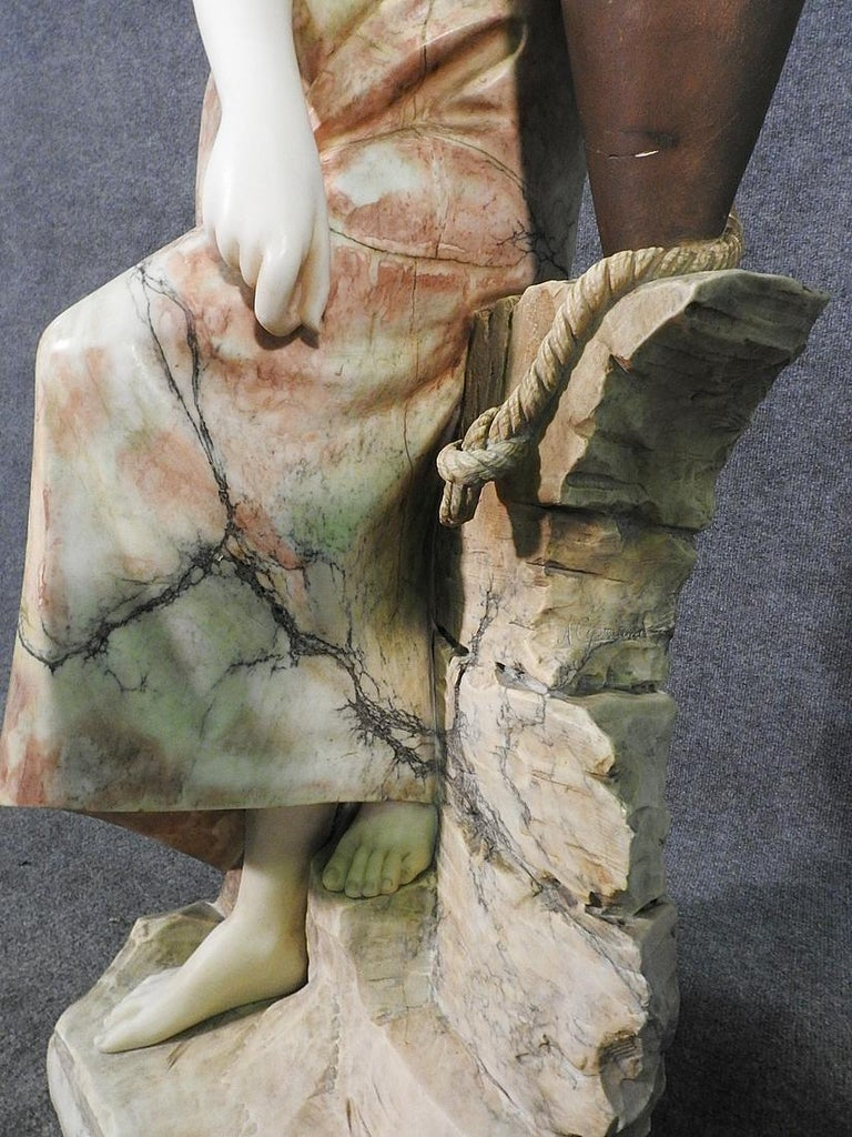 Signed Adolfo Cipriani Carved Marble Statue of a Lady with Water Jug on Rocks For Sale 1