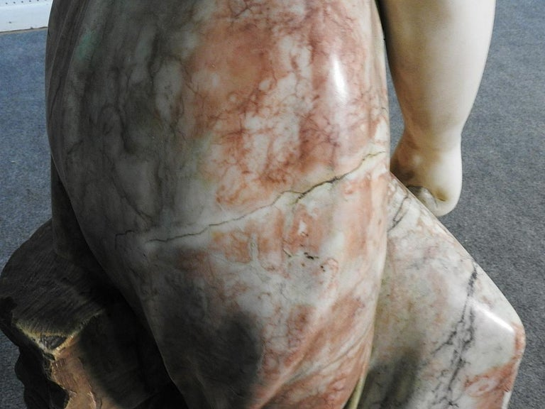Signed Adolfo Cipriani Carved Marble Statue of a Lady with Water Jug on Rocks For Sale 2