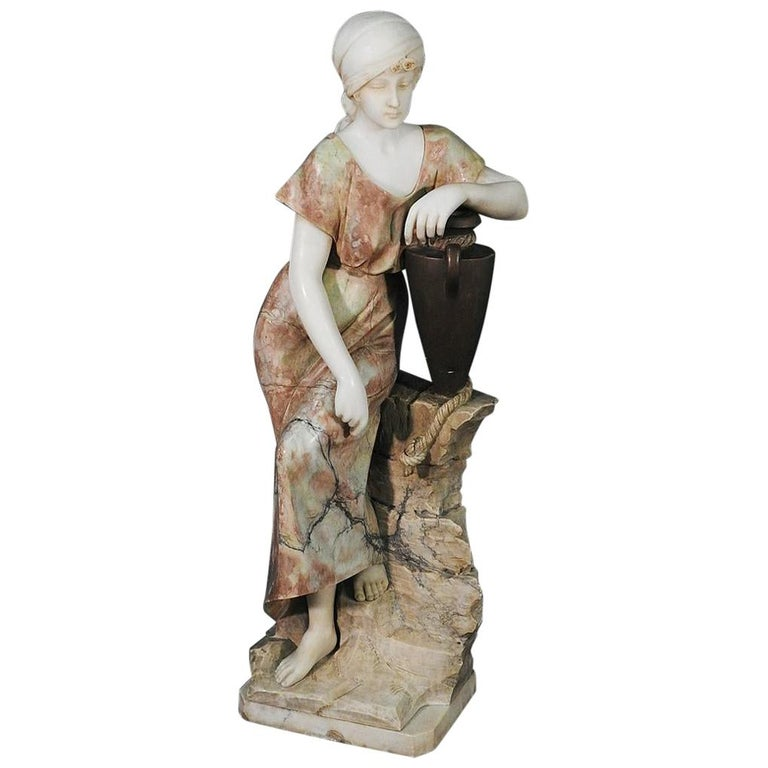 Signed Adolfo Cipriani Carved Marble Statue of a Lady with Water Jug on Rocks For Sale