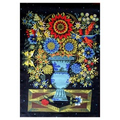 Signed ALAIN CORNIC Wool Tapestry Named BOUQUET by D' AUBUSSON, 1950
