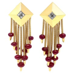 Aletto Brothers Pyramid Ruby and Diamond Dangling Clip-On Drop Earrings