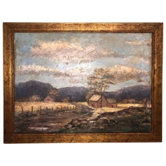 Signed Alice LeFevre Oil on Board of Pastoral New England