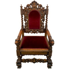 Signed American Carved Oak Eagle Motif Throne Chair