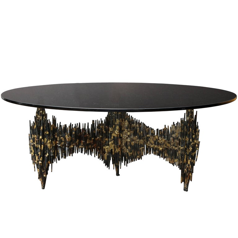 "Signed and Dated ""Edward Garfinkle, 1971"" Brutalist Cocktail Table For Sale"