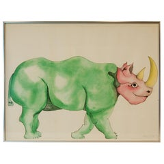 Signed and Framed Watercolor of Rhinoceros by Anna Dibble, 1972