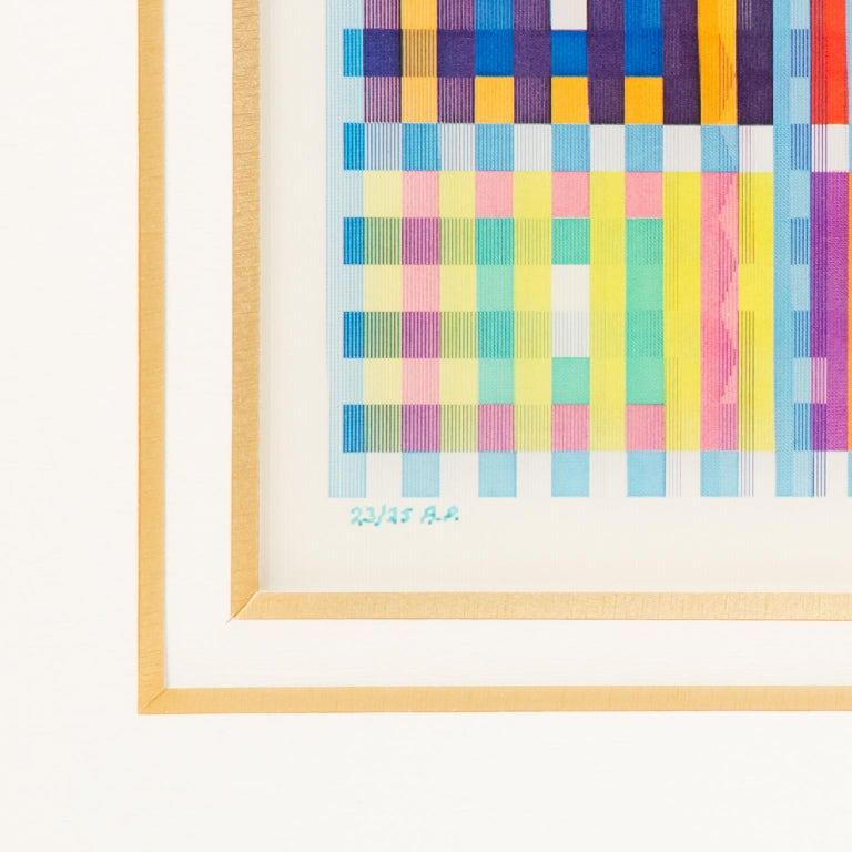 This cool and colorful limited edition Yaacov Agam lenticular is numbered 23/25 AP (Artists proof) and is beautifully framed in its original