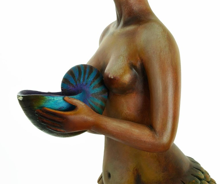 Signed and Numbered Sergio Bustamante Ceramic Mermaid on Shell For Sale 3