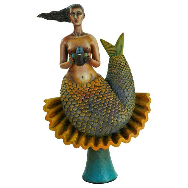 Signed and Numbered Sergio Bustamante Ceramic Mermaid on Shell For Sale
