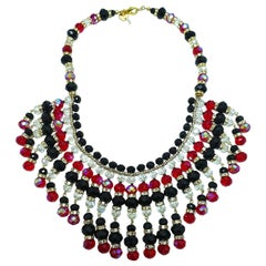 Signed Anka Red & Black Crystal Bib Necklace