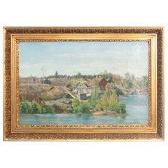 Signed Antique Norwegian Coastal Landscape Oil Painting
