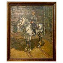 Signed Antique Original Painting Constable on Horse, Early 20th Century