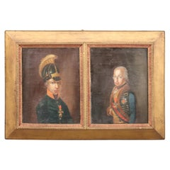 Signed Antique Painting of 18th or Early 19th Century Two English Soldiers