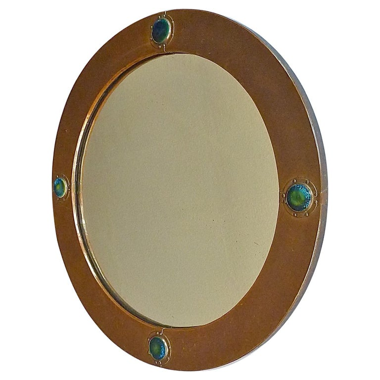 Signed Antique Round Liberty Wall Mirror Patinated Copper