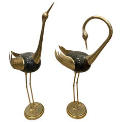 Signed Antonio Pavia Italian Gold & Black Enameled Brass Birds Egrets Sculptures