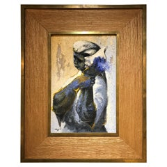 Signed Armando Morales Woman with Shell Oil on Board Latin American Art, 1960