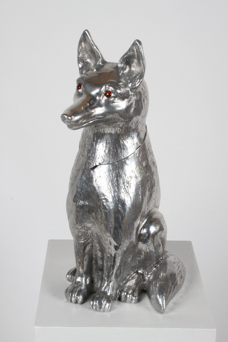 Arthur Court (1928-2015) Mid-Century Modern aluminum accessory designer. Aluminum barware, wine or ice cooler in the form of a fox, wolf or dog, with hinged head and glass eyes, signed Arthur Court 1986. In excellent original condition. Light to no
