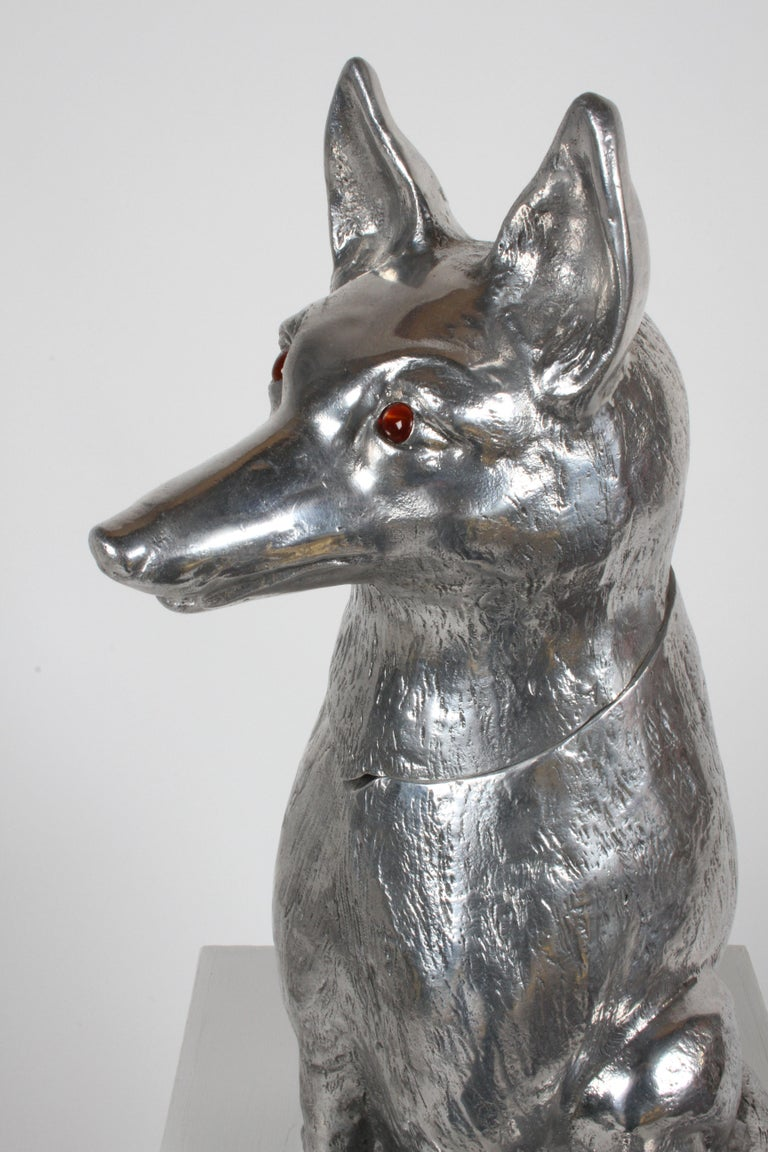 Signed Arthur Court Aluminum Fox Wine, Champagne Bucket or Ice Cooler, 1986 For Sale 1