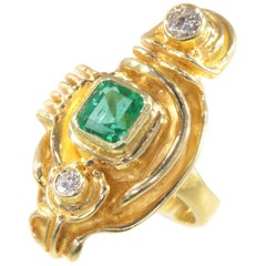 Signed Artist Jewelry Gold Ring by Demaret with Diamonds and 1.20 Carat Emerald