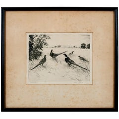 """Signed Artist Proof Etching """"Pheasants"""" by Hans Kleiber, Early 20th Century"""