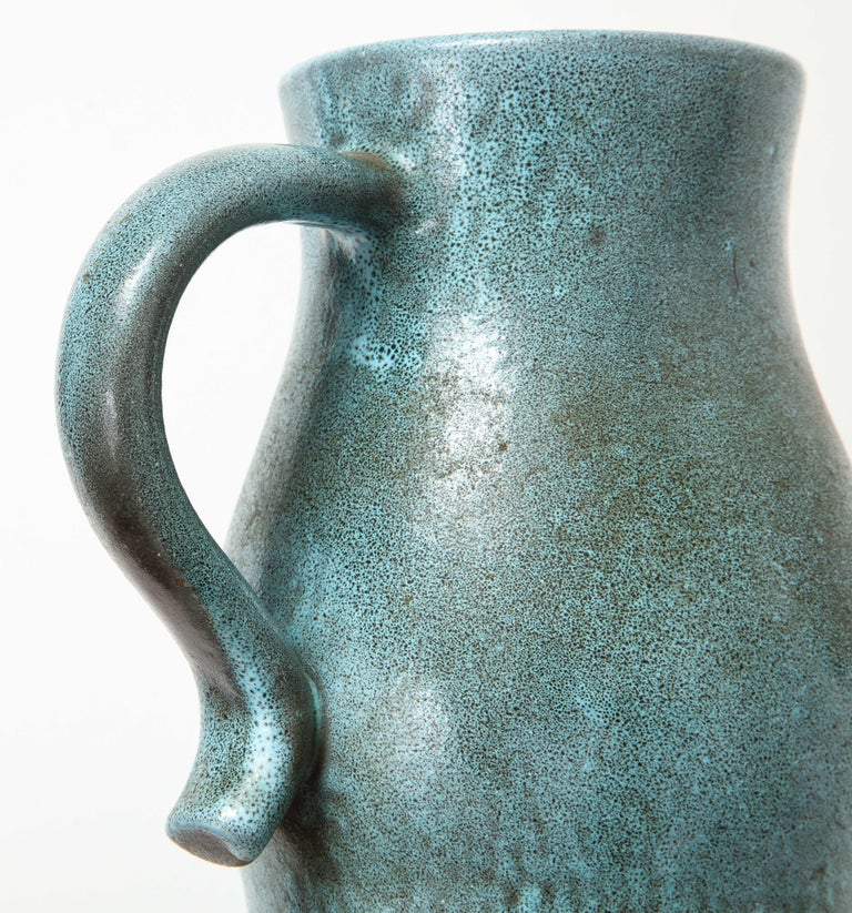 Signed Atelier Accolay Tall Blue Ceramic Milk Pitcher, France, circa 1960s 5