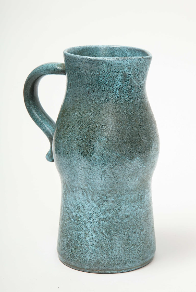 French Signed Atelier Accolay Tall Blue Ceramic Milk Pitcher, France, circa 1960s
